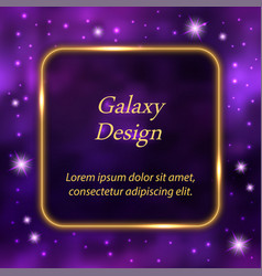 golden glowing frame on galaxy space background vector image