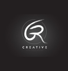gr brush letter logo design artistic handwritten vector image