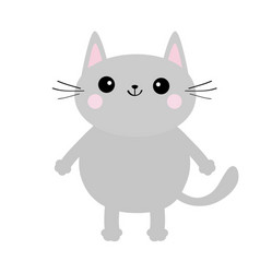gray cat face silhouette cute cartoon kitty vector image