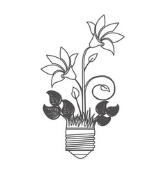 Grayscale contour with light bulb base with plant vector