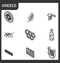 greece outline isometric icons vector image