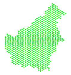 Green hex tile borneo island map vector