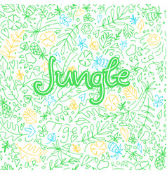 hand drawn doodle background in jungle theme vector image
