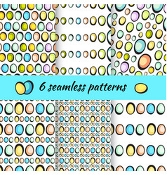 hand drawn easter eggs pattern on white vector image
