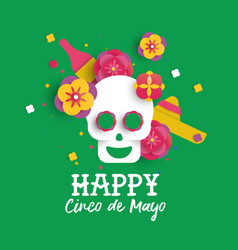 Happy cinco de mayo paper skull and flower card vector