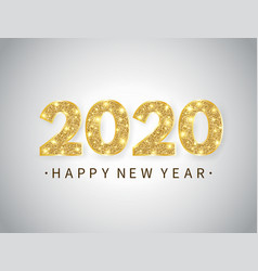 happy new year banner with gold glitter 2020 vector image