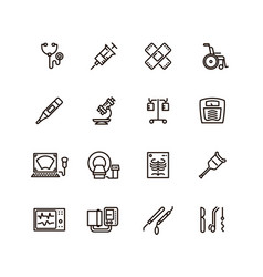 healthcare medical equipment and hospital line vector image