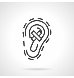 Hear loss simple line icon vector image