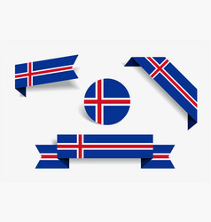 icelandic flag stickers and labels vector image