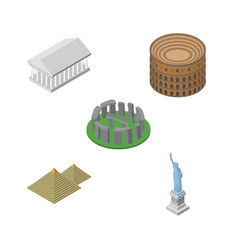 isometric attraction set of coliseum england new vector image