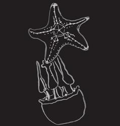 Jellifish and starfish hand drawn vector