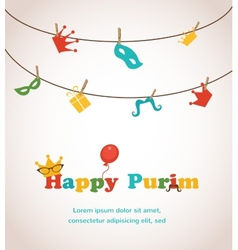 Jewish holiday Purim greeting card design vector