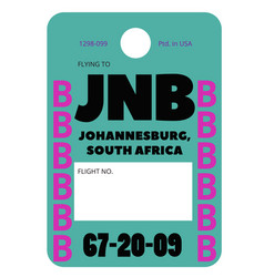 Johannesburg airport luggage tag vector