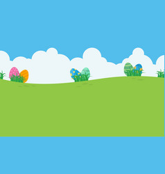 Landscape of easter egg and sky vector