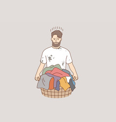 laundry and washing clothes concept vector image
