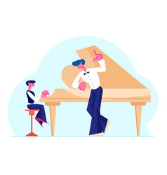 little boy in concert dress training on grand vector image