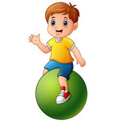 Little boy sitting on green ball vector