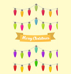 Merry christmas card with christmas lights and vector