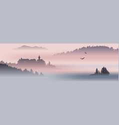 Mountain view with flying birds inspired vector