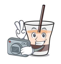 Photographer white russian mascot cartoon vector