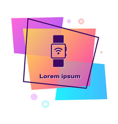 Purple smartwatch with wireless symbol icon vector