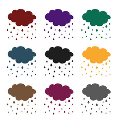 rain icon in black style isolated on white vector image