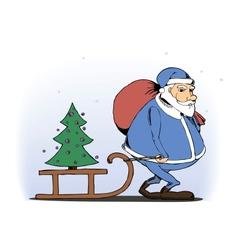 Santa Claus lucky children a Christmas tree vector image