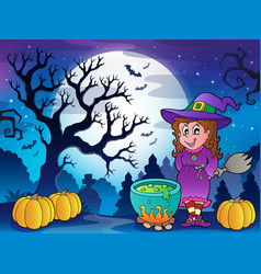 scenery with halloween character 3 vector image