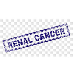 Scratched renal cancer rectangle stamp vector