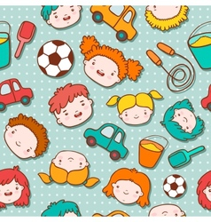 Seamless doodle kids background vector