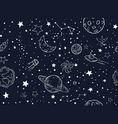 Seamless night sky stars pattern sketch moon vector