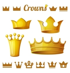set 2 royal gold crowns isolated on white vector image
