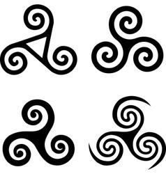 Set black isolated triskels vector