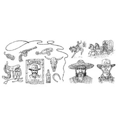set cowboys western icons texas ranger vector image