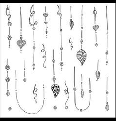 Set hand drawing ethnic mandala ornament vector