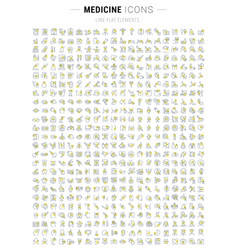 set line icons medicine and health vector image