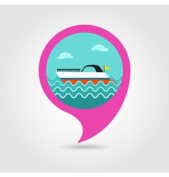 Ship Boat pin map icon Summer Vacation vector