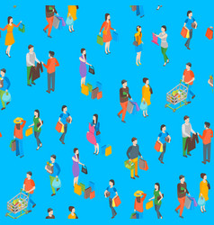 shopping people 3d seamless pattern background vector image
