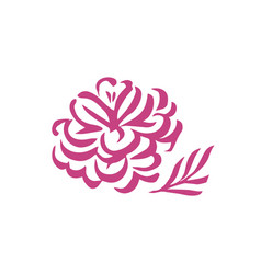 silhouettes of hand drawn peony flowers vector image