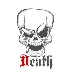 Sketched creepy laughing human skull icon vector image