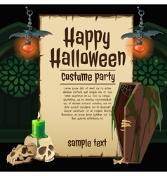 Skull and coffin with card for happy halloween vector