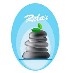 spa pebbles with leaves and inscription relax vector image