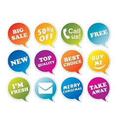 Stickers set in form of speech bubbles vector