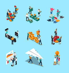 Teamwork isometric icons set vector