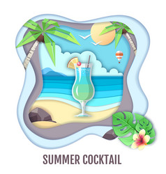 Tropic cocktail on sea beach paper cut out design vector