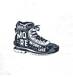 Vintage hand drawn hiking boots footwear t shirt vector
