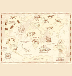 vintage world map with wild animals and mountains vector image