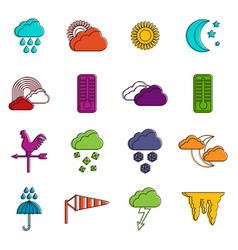 weather icons doodle set vector image
