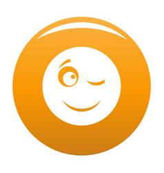 Winks smile icon orange vector