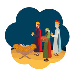 Wise kings with jesus bain straw crable vector